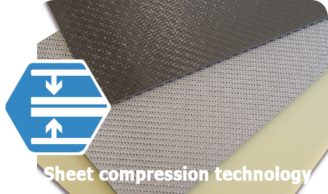 Different sheets of materials are shown as an example for compression.